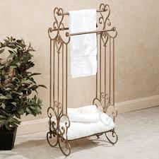 Wood Bathroom Towel Racks Aldabella Satin Gold Bath Towel Rack Stand