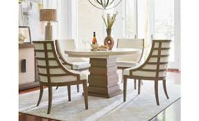 universal furniture synchronicity round dining table in horizon