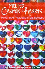 crayon valentines melted crayon hearts with free printable valentines harvard