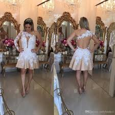 2017 newest one shoulder lace short homecoming dresses appliques a