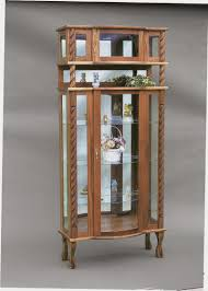 Kitchen Cabinet Glass Shelves Furniture Amish Curved Top Curio Cabinets With Glass Shelves For