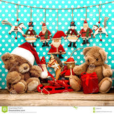 teddy decorations christmas decorations with antique toys and teddy stock