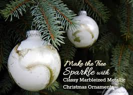 make the tree sparkle with marbleized metallic