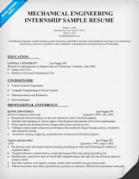 Resume Format For Mechanical Mechanical Engineering Internship Resume Sample Resumecompanion