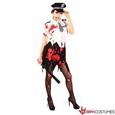 womens zombie police officer halloween fancy dress costume ladies