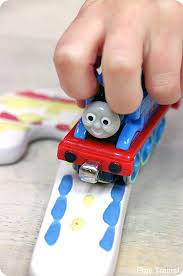 painting with trains thomas candy cane ornament