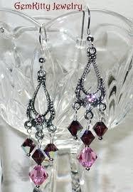 swarovski rose u0026 burgundy chandelier earrings