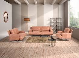 Sofa Set Leather by Estro Salotti Foster Modern Cognac Italian Leather Sofa Set