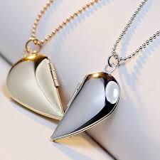 locket necklace aliexpress images Hot sale half heart photo locket necklace women jewelry lover jpg