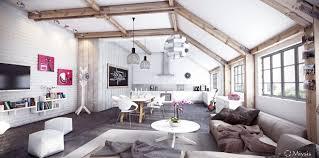 miysis painted white exposed brick interior with exposed beams