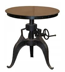 Industrial Bistro Table Industrial Bistro Crank Iron Base Table 22 Adjust To