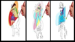 my little pony eques girls applejack fluttershy rarity coloring