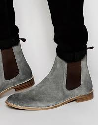 womens boots uk asos image 1 of asos chelsea boots in grey suede m e n