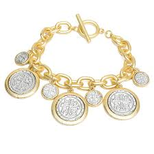 gold chain charm bracelet images Gold chain toggle bracelet with two tone coin charms fashion jpg