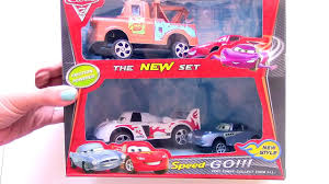 monster trucks lightning mcqueen spiderman unboxing pixar disney toys cars 2 collection race track videos
