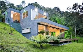 hillside cabin plans hillside house with wall and glass windows and door with all