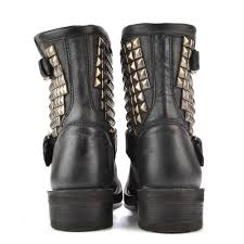 heeled biker boots ash titan black tarnished silver studded ankle biker boot
