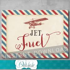 jet fuel sign 5x7 inches vintage airplane party baby