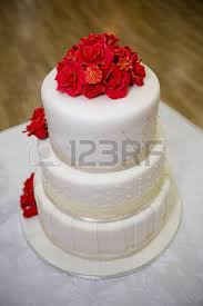 red white wedding cake with roses stock photo picture and royalty