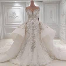 bridal gowns 2016 portrait mermaid wedding dresses with overskirts lace ruched
