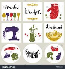 kitchen utensil cooking food card set stock vector 671730769