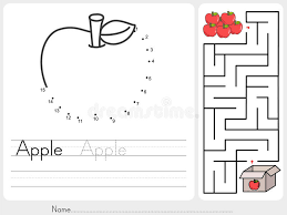 connect dots and pick apple box maze game worksheet for