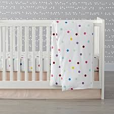 Flannel Crib Bedding Bedroom Modern Cradle With Soft White Tone Combining With Polka