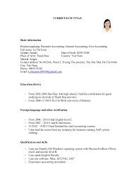 exle resume for application cv for payment accounting general accounting cost accounting