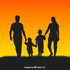 family silhouettes vector free