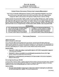 Resume Summary Paragraph Examples by Logistics Resume Example Operations Production Military