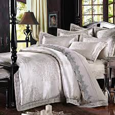Jacquard Bedding Sets Luxury Silver Jacquard Bedding Set With Lace King Size
