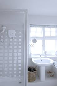 bathroom window curtains and matching shower tile design ideas