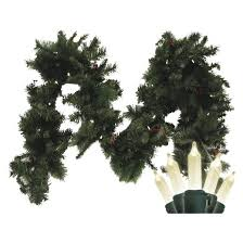 pre lit battery operated led fir garland white lights 9 target