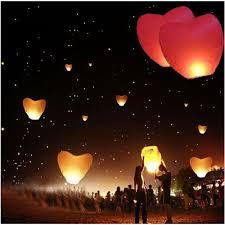 lanterne chinoise mariage sky lantern lot de 5 lanternes chinoises volantes en forme de cœur