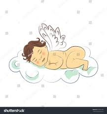 sleeping baby angel on cloud vector stock vector 372357100