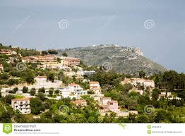 luxury plaster homes on eze hillside royalty free stock images