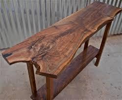X Base Console Table Live Edge Walnut Top U0026 Shelf With Walnut Base 48 X 15 X 32 Nicely
