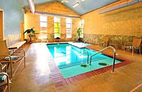 interior nice modern indoor swimming pool decor with brown