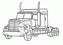 realistic semi truck coloring page for kids transportation