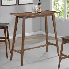 coaster mid century modern rectangular bar table walnut finish