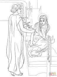 mary and the angel coloring page coloring home