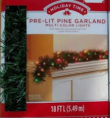 holiday time pre lit 18 christmas garland multi lights holiday time pre lit 18 christmas garland multi lights ebay
