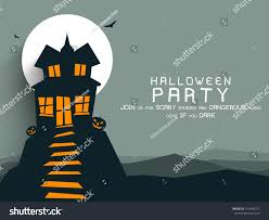 Haunted House Halloween Party by Poster Banner Background Halloween Party Night Stock Vector