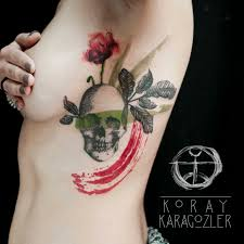 skull n flower watercolor skull tattoo flower flowertattoo