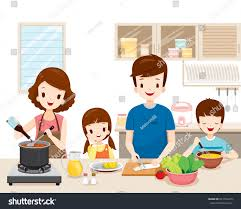 happy family cooking food kitchen together stock vector 641520415