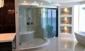 Bathroom Laminate Tile Flooring Bathroom Dark Daltile Wall With Rain Shower And Frameless Shower