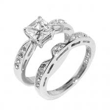 stainless steel wedding ring sets gorgeous princess cut stainless steel wedding ring set ordinary