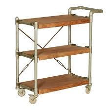 Industrial Kitchen Cart by Mango Wood U0026 Iron 3 Tier Rolling Tea Cart W Handle