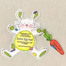 unique easter bunny invitation card sample with bunny shape and