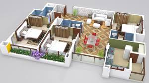 3 Bhk Home Design Layout 3bhk House Plan In 3d Arts